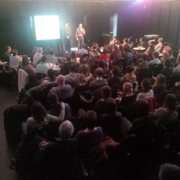 A crowd looking at the OttawaInColour team.