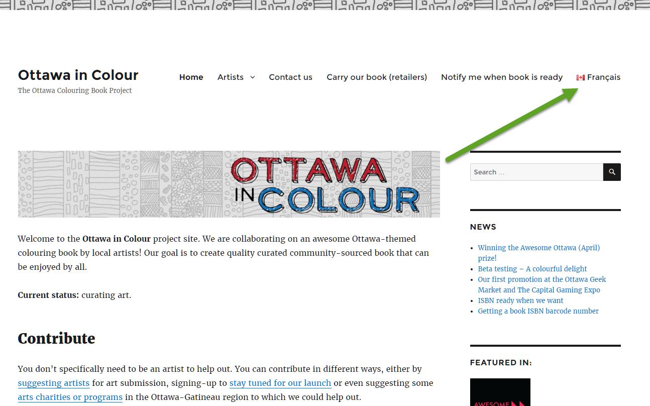 Capture d'écran avec l'ajout d'un onglet francophone. Screen capture of our site having a french toggle.